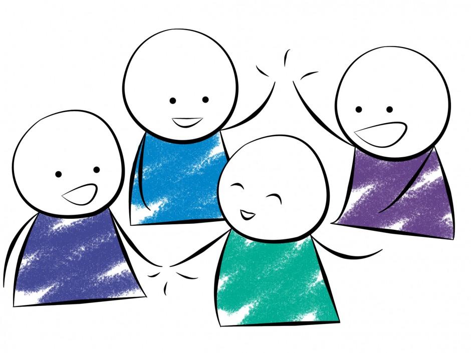 Cartoon of a group celebrating